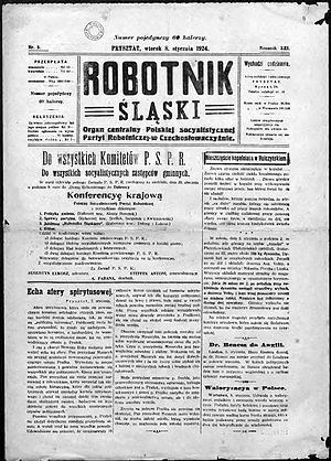 Polish Socialist Workers Party - Front page of the Robotnik Śląski newspaper, 8 January 1924