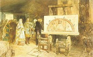 County of Holland - Dirk VI, Count of Holland, 1114–1157, and his mother Petronella visiting the work on the Egmond Abbey, Charles Rochussen, 1881.