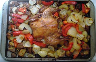 Cornish game hen - Baked Cornish game hen with vegetables