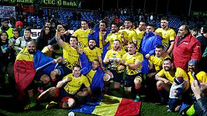 Romania national rugby union team - Romania national rugby union team after receiving the Pershing Trophy in 2016 at their home ground, Stadionul Arcul de Triumf after a test match against USA
