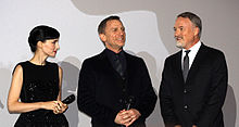 Rooney Mara, Daniel Craig and David Fincher at the Paris premiere of their film The Girl with the Dragon Tattoo