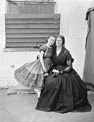 "Rose O'Neal Greenhow - Rose O'Neal Greenhow with her youngest daughter and namesake, ""Little"" Rose, at the Old Capitol Prison, Washington, D.C., 1862"