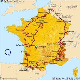 1970 Tour de France - Route of the 1970 Tour de France