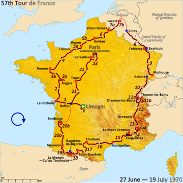 Route of the 1970 Tour de France