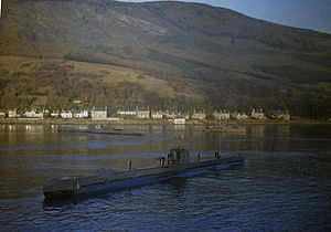 Royal Navy Submarines in Holy Loch, Scotland, 1942 TR612.jpg