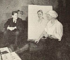 Rolf Armstrong - Armstrong in the process of painting Rudy Vallée. (1930)
