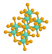 A ball-and-stick chemical model of a rutile crystal