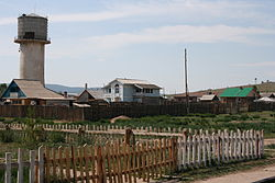 Sükhbaatar outskirts with Russian border in the background