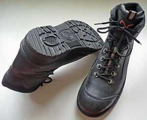 Boot - A pair of ISO 20345:2004 compliant S3 steel-toed safety boots designed for construction workers.