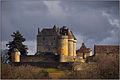 SAINTE-MONDANE (Dordogne) - Château de Fénelon depuis Sur le Roc au soleil couchant.jpg