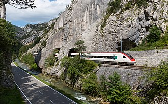 Moutier - Road, Birs river and railway line in the Moutier Gorge