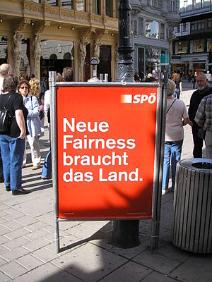 "Social Democratic Party of Austria - SPÖ poster for the 2006 general elections; ""The country needs a new fairness."""