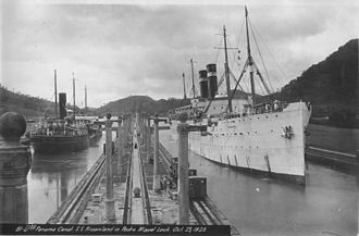 Kroonland passes through the Pedro Miguel Locks of the Panama Canal on 23 October 1923. It was the liner's first voyage on the New York - San Francisco route after an absence of eight years. SS Kroonland in Panama Canal, 1923.jpg