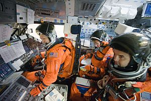 Advanced Crew Escape Suit - Image: STS 135 Crew Compartment Trainer 2 flight deck