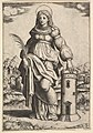 Saint Barbara standing, palm in her right hand, resting her left hand on a tower MET DP824412.jpg