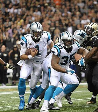Mike Tolbert - Tolbert blocking for Cam Newton in a game against the New Orleans Saints in 2015.