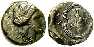 Salamis Island - Coin of Salamis, 339–318 BC. Obverse: Female head. Reverse: Boeotian shield (shield of Ajax) and sword in sheath