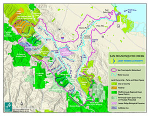 San Francisquito Creek - San Francisquito Creek Watershed with named tributaries. Courtesy of San Francisquito Creek Joint Powers Authority