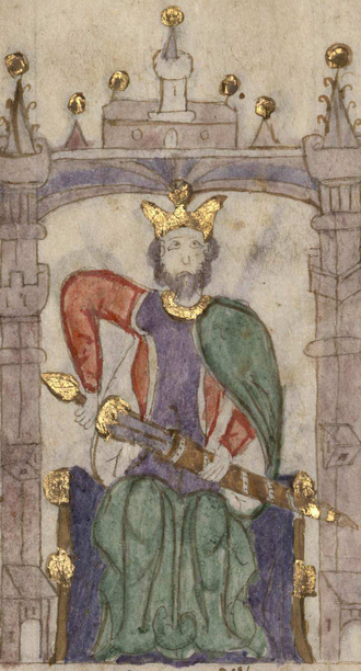Sancho II of Castile and León - Sancho II in the Castilian manuscript Compendium of Chronicles of Kings (...) (c. 1312-1325). Currently located at Biblioteca Nacional de España.