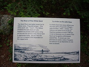 Sand River (Ontario) - Image: Sand River History Sign 2007