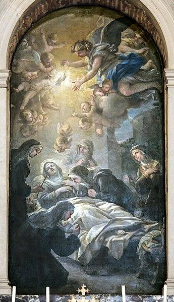 File:Santa Giustina (Padua) - Death of St. Scholastica by Luca Giordano.jpg