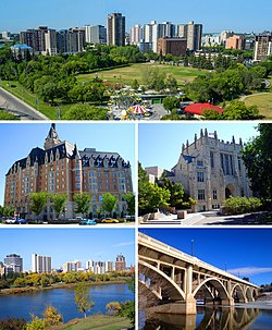 From left to right: central Saskatoon featuring the South Saskatchewan River; the Delta Bessborough hotel; the University of Saskatchewan; Saskatoon Riverbank; and the Broadway Bridge.