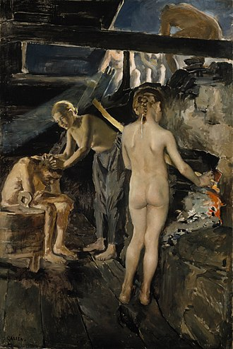 """Architecture of Finland - """"In the sauna"""", painting by Akseli Gallen-Kallela, 1889"""
