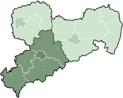 Map of Saxony highlighting the former Direktionsbezirk of Chemnitz