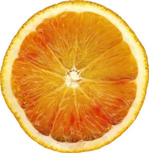 A scan of a cut Orange (fruit).