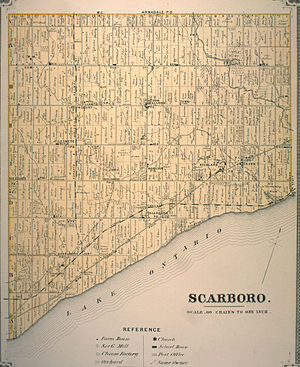 Sheppard Avenue - A 1880s survey map of Scarborough showing the original route of Sheppard (halfway up map on right) along Twyn Rivers Drive.