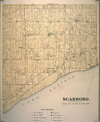 Scarborough, Toronto - A survey map of Scarborough from the 1880s