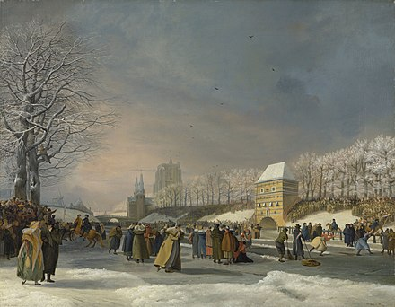 a8a7b5b52bc Nicolaas Bauer: Women's speed skating competition on the town canal at  Leeuwarden, 1809.