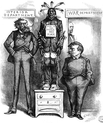 A cartoon from Harper's Weekly of December 21, 1878, features Philip Sheridan and Secretary of the Interior Carl Schurz Schurz and Sheridan and Red Man.jpg