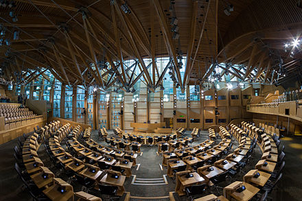 The debating chamber within the Scottish Parliament Building Scottish Parliament Debating Chamber 2.jpg