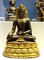 Seated Buddha Akshobya, northeast India, probably Kurkihar, 11th century AD, Pala Period, gilt copper alloy with silver and gold inlay - Fitchburg Art Museum - DSC08841.JPG