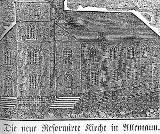Liberty Bell Museum -  Woodcut of the Second Zion's Reformed United Church of Christ, Allentown Pennsylvania. This illustrated the church that was erected in 1773, and was the hiding place for the Liberty Bell during the winter of 1777-1778. (Holdings of the Lehigh County Historical Society)