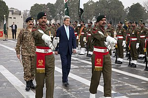 General Headquarters (Pakistan Army) - U.S. Secretary of State John Kerry, with Pakistani Chief of Army Staff Raheel Sharif, participates in a wreath laying ceremony at the General Headquarters (GHQ), the headquarters of Pakistan Army, in Rawalpindi, Pakistan, on January 13, 2015.