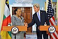 Secretary Kerry Shakes Hands With CAR Transitional President Samba-Panza After They Addressed Reporters in Washington.jpg