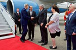 Secretary Kerry Shakes Hands with U.S. Ambassador to Georgia Kelly at the Tbilisi International Airport in Georgia (27844617220).jpg