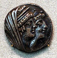 Seleucidi, cleopatra tea e suo figlio antioco VIII, tetradracma, 121-120 ac.JPG