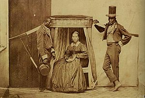 Social apartheid in Brazil - 19th-century picture of a white woman being carried by slaves in her litter