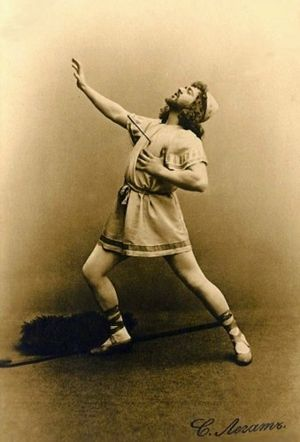Sylvia (ballet) - Sergei Legat in the rôle of the shepherd Aminta in Sylvia. This photograph shows the moment where he is struck by Sylvia's arrow. St. Petersburg, 1901.