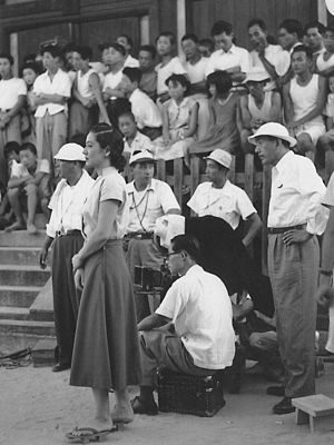 Tokyo Story - Ozu (far right) on set during shooting.