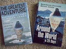 Two books with different titles: The Greatest Adventure on the UK edition; Around the World in 20 Days on the US issue. Different front-cover designs show a hot-air balloon to the backdrop of snowy mountains.