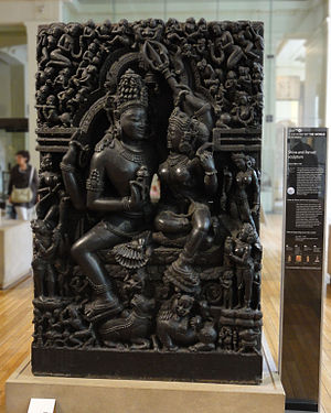 A History of the World in 100 Objects - Object  68, the Hindu deity couple Shiva and Parvati sculpture with radio series information panel.