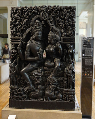 Parvati - Uma Maheshvara (Parvati with Shiva), 12th-13th century from Odisha, India, currently in the British Museum.