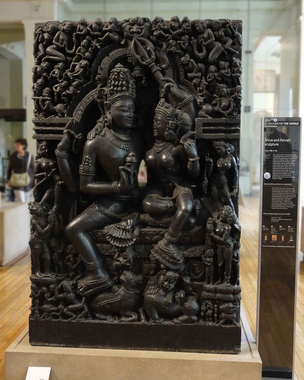 Shiva and Parvati sculpture display