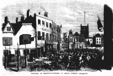 Shrove Tuesday Football in Kingston upon Thames (1865) Shrovetide Football Kingston upon Thames 1865.png