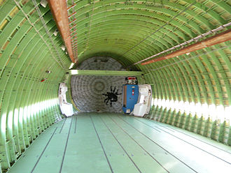 Rough interior of a Boeing 747 airframe Shuttle Carrier Aircraft interior bulkhead.jpg