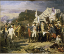 This scene precedes taking the city of Yorktown. Generals gathered in front of their tent decorated with French and American flags to give instructions to lead to victory. This table shows Rochambeau accompanied Washington on the left, giving orders; Lafayette, bareheaded, appears behind